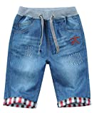 JiaYou Child Boy Mid Waist Elastic Straight Stretch Summer Capris Cropped Denim Jeans(M,11 Years)