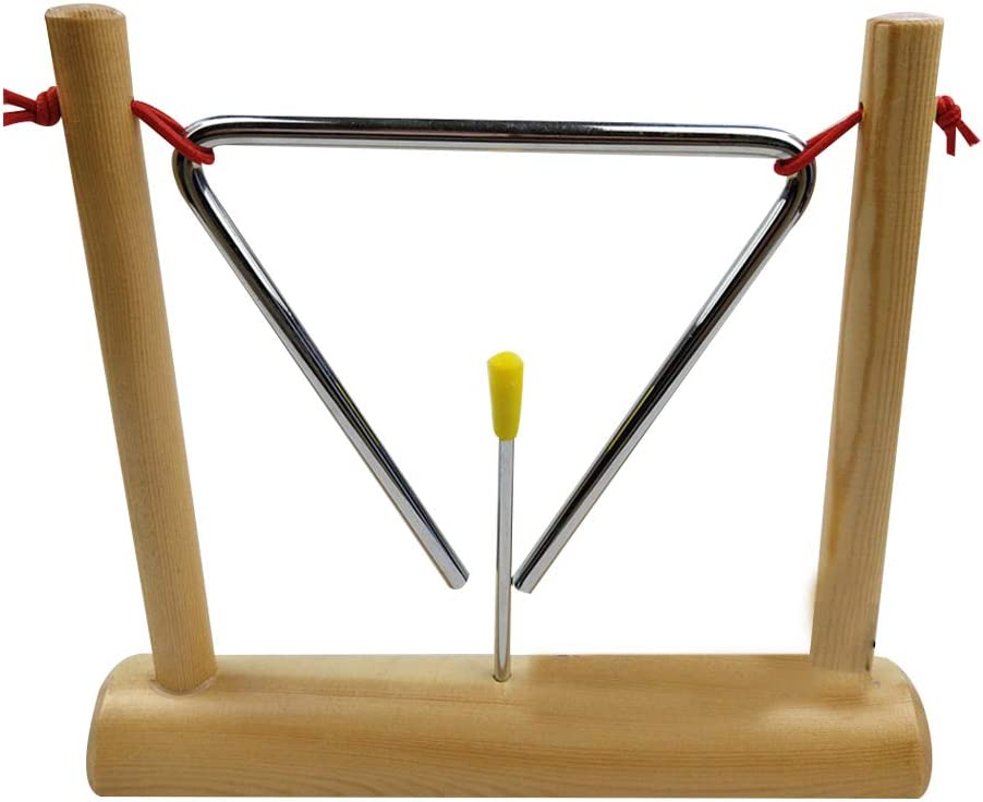 Teacher Lzttyee 6 Inch Iron Triangle Bell Musical Hand Percussion Instrument with Striker and Wooden Stand for Kids