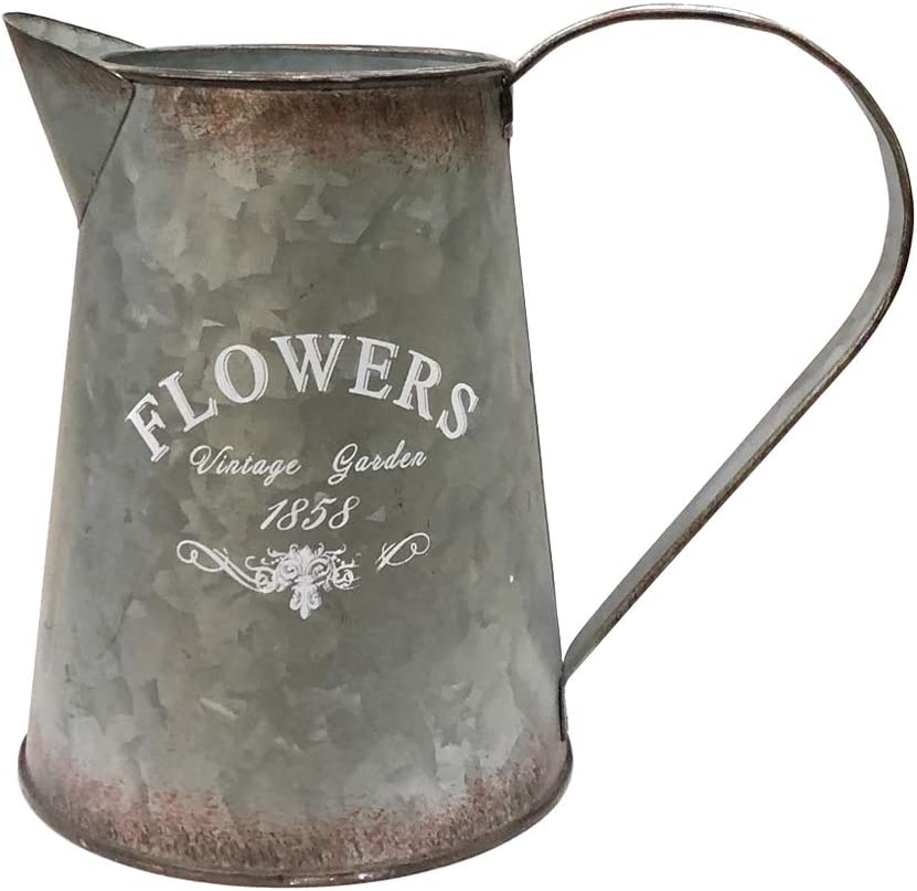 "WHHOME Shabby Chic Silver Watering Can Galvanized Finish Metal Vase Country Rustic Pitcher Primitive Jug Decorative Flower Holder, 6.7"" H"