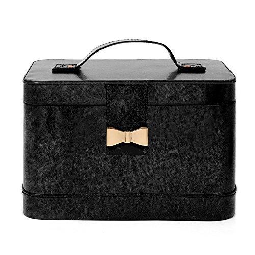 Ellen Tracy Compact Crossgrain Vegan Leather Makeup Train Case Metallic Bow Snap Closure Portable Travel Case Makeup ()