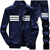 MACHLAB Men's Athletic Tracksuit Full Zip Warm Sports Sets Jogging Sweat Suits Navy L