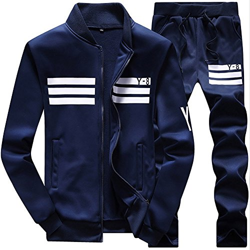 MACHLAB Men's Athletic Tracksuit Full Zip Warm Sports Sets Jogging Sweat Suits Navy L by MACHLAB