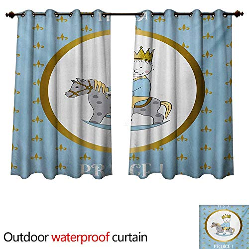 - WilliamsDecor Gender Reveal 0utdoor Curtains for Patio Waterproof Its A Prince Quote with a Newborn Boy Riding a Horse Fleur de Lis Motifs W96 x L72(245cm x 183cm)