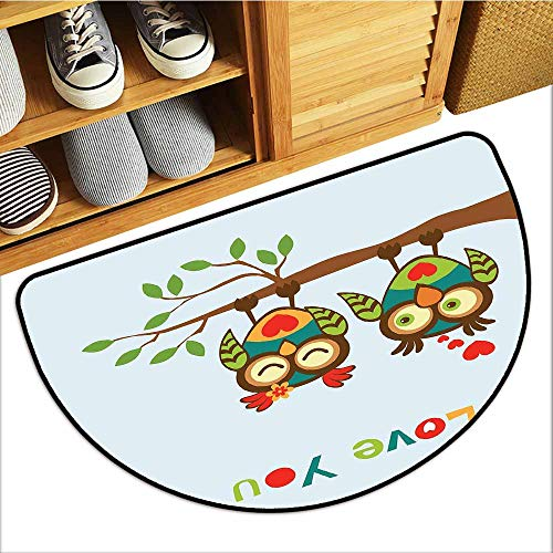 TableCovers&Home Magic Doormat, Romantic Doormats for High Traffic Areas, Colorful Abstract Owls on a Branch with a Quote Expressing Affection and Adoration (Multicolor, H20 x D32 Semicircle)