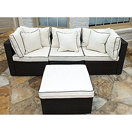 Fabulous Amazon Com Wicker Patio Hampton Sofa With Ottoman Garden Ncnpc Chair Design For Home Ncnpcorg