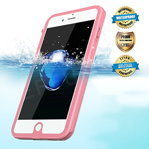 Effun iPhone 7 Plus Waterproof Case, IP68 Certified Waterproof Underwater Cover Dustproof Snowproof Shockproof Case with Cell Phone Holder, PH Test Paper, Stylus Pen and Floating Strap Pink