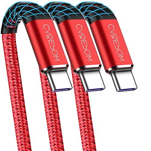 Cable USB A a tipo C, Cabepow [paquete de 3 6 pies] Cable USB tipo C de carga rápida para Samsung Galaxy A10 / A20 / A51 / S10 / S9 / S8, cargador tipo C Cable USB trenzado de nailon premium (rojo)