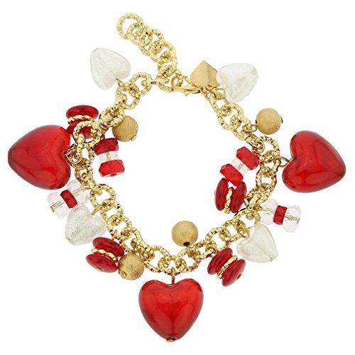 (GlassOfVenice Murano Glass Donatella Heart Charms Bracelet - Red )