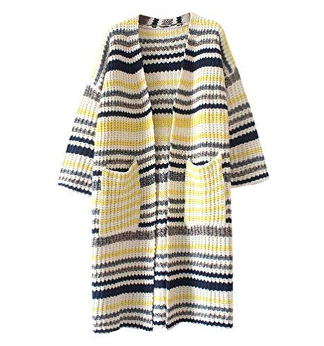 Chic 1 Moda Donna Di Anteriori Manica Maglia Maglieria Giacca Autunno Tasche A Stil Pullover Ragazza Elegante Maglioni Stripe Comodo Lunga Hqq7pnr