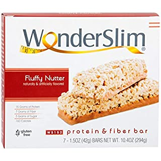 WonderSlim Low-Carb 15g Protein Diet Bar - Fluffy Nutter - High Fiber Weight Loss Snack Bar - Gluten Free (7 Count)