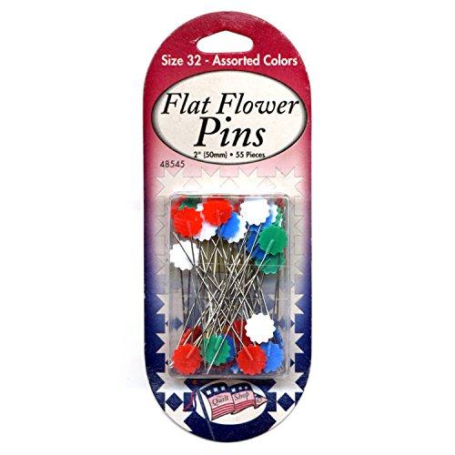 Sullivans Assorted Flat Flower Pins Size 32, 55 pieces by Sullivans