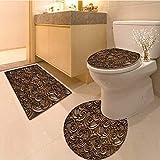 MikiDa 3 Piece Bathroom Mat Set wood thai pattern handmade wood carvings chiangmai thailand Soft Shaggy Non Slip