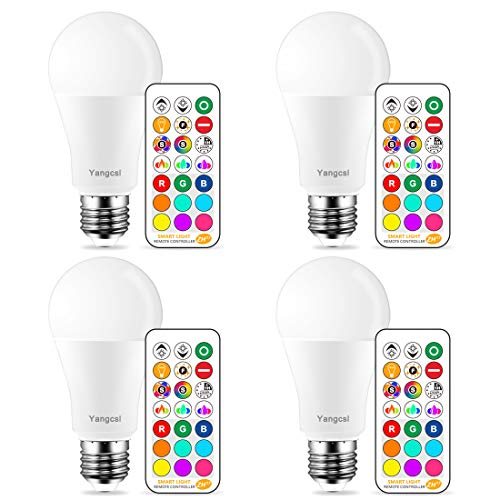 (Yangcsl LED Light Bulbs 75W Equivalent, RGB Color Changing Light Bulb, 6 Moods - Memory - Sync - Dimmable, A19 E26 Screw Base, Timing Remote Control Included (Pack of 4))
