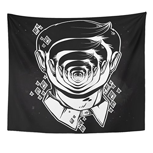 - VaryHome Tapestry Portrait of Weird Man with Strange Face Graphic Drawing in Noir Retro Depicting Mental Disorder Character Home Decor Wall Hanging for Living Room Bedroom Dorm 50x60 Inches