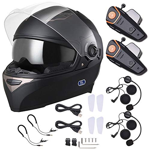 (AHR DOT Bluetooth Full Face Helmet 2 Visors Air Vent with Bluetooth Headphone Intercom 2-3 Riders 1000m Set XL)