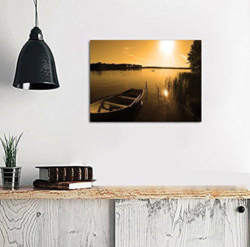 Nuolanart p1l4060 002 sunset over peace lake framed canvas for Home decor uae