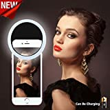NEW Selfie Ring Light [Chargeable][No Battery required] 36 LED Night Light 3 Settings for iphone 7/7 Plus/6/6s/6 plus/6s Plus iPad,Galaxy S7/S7 Edge,Galaxy S6 Edge/S6,All the Smart Phones-Black