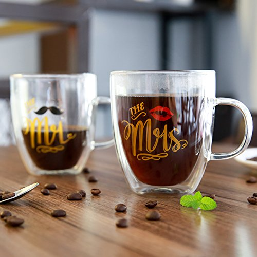 Luspan Insulated Coffee Mugs Set(12oz,350ml)-Double Wall Glass Mugs-For Drinking Tea, Latte, Espresso or Cappuccino-Mr Mrs Coffee Mugs by Luspan (Image #4)