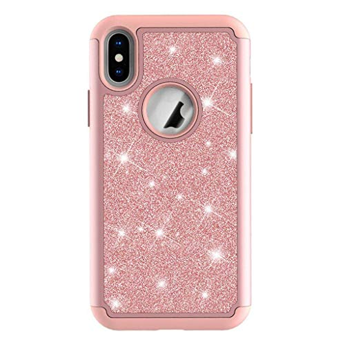 Suitable for iPhone 6 / 6s / 6plus / 6splus / 7/8 / 7plus / 8plus / X/XS/XR/XS Max Phone Shell, Glitter Stickers Skin Protective Drop Sleeve -Rose Gold-X/XS