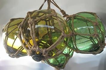 4 Fischerkugeln aus Glas Ø 5cm rot,grün,blau,braun maritime Fischernetz Deko
