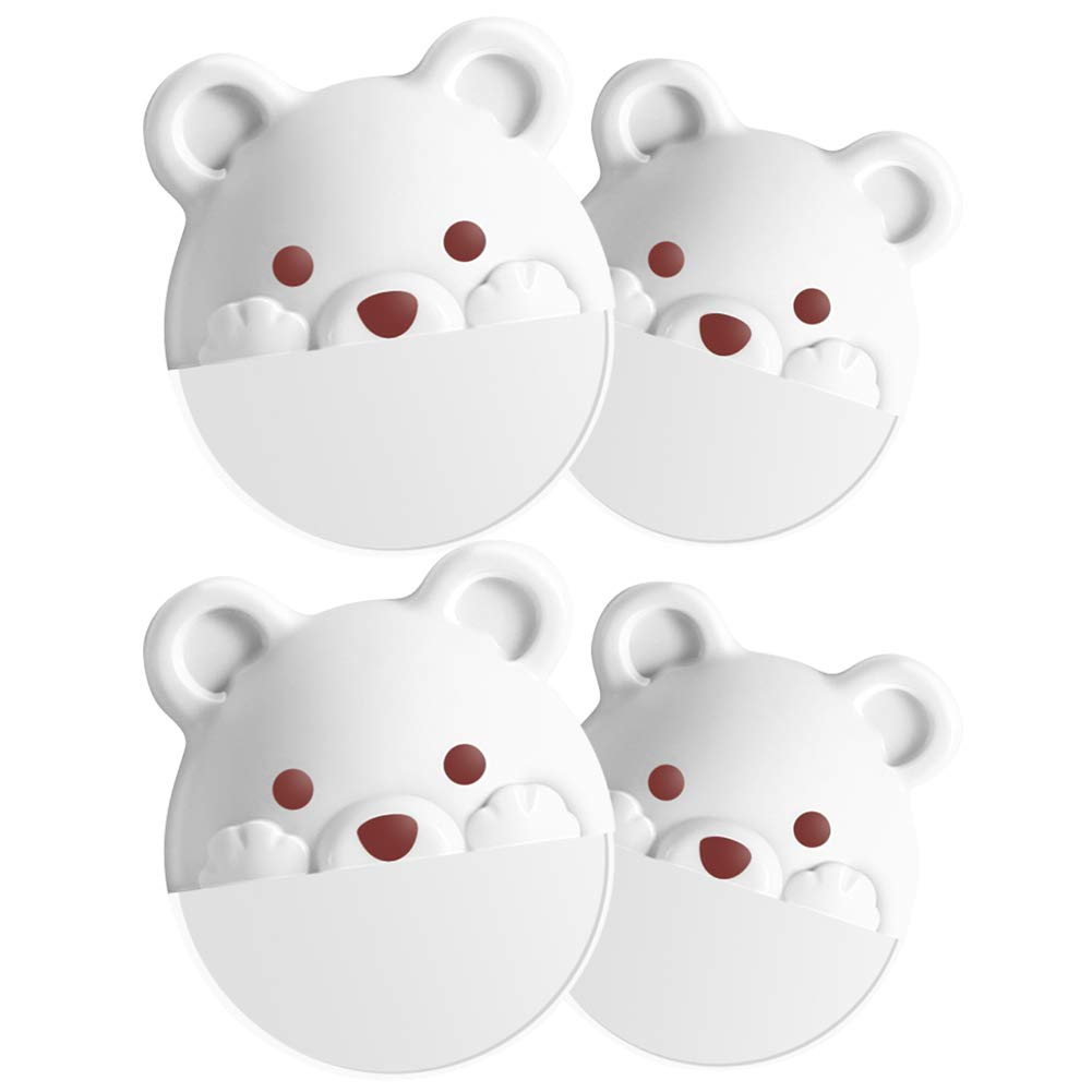 Loghot White Bear Child Safety Cabinet Locks Anti Tilt Furniture Anti Tip Wall Anchor No Need to Punch Holes (Pack of 4)
