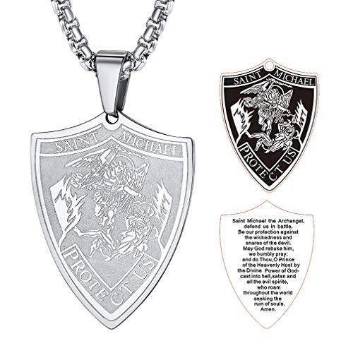 FaithHeart Saint Michael Pendant Necklace, St. Michael The Archangel Necklace Jewelry (Shield/Silver) ()