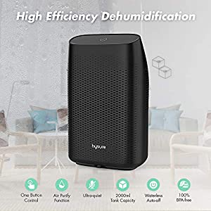 Hysure Electric Dehumidifier, Portable Dehumidifier with 2L(4.2 Pints) Water Tank, Electric Mini Dehumidifier for Bathroom, Auto Shutoff Ultra Quiet Dehumidifier for Basement Kitchen Bedroom Closet