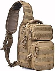 Tactical Sling Bag Military Single Shoulder Backpack Pack Small Range Bags Tan