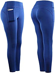OTTATAT Womens Yoga Pants Laides High Waist with Cell Phone Pockets Tummy Control Workout Stretch Leggings Gym Fitness