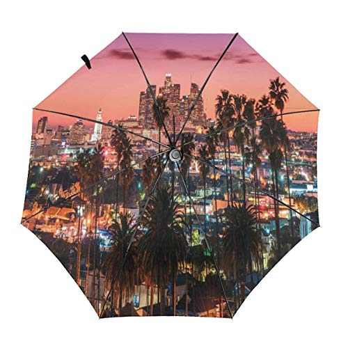 (Automatic Open Close tri-fold Windproof Travel umbrella,Vibrant Sunset Twilight Scenery Los Angeles Famous Downtown With Palm Trees,InsidePrint)
