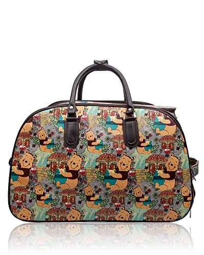 Foxlady Unisex Carry-on Cartoon Print Luggage Travel Bag Suitcase Winnie Brown