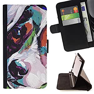 KingStore / Leather Etui en cuir / Samsung Galaxy S3 MINI 8190 / Jack Russell Terrier Arte Pintura perro
