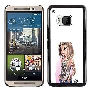 EJOY---Cubierta de la caja de protección la piel dura para el ** HTC One M9 ** --Chica emo