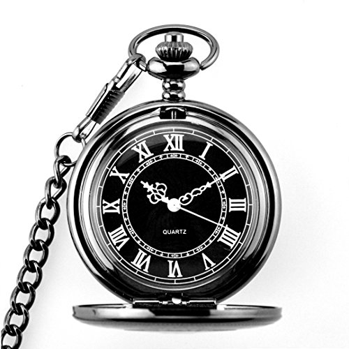 Powshop Vintage Roman Numerals Pocket Watch Retro Steampunk Pattern Black Quartz Men's Watches with 14.8''Chain & Gift - White Watch Roman Numeral Pocket