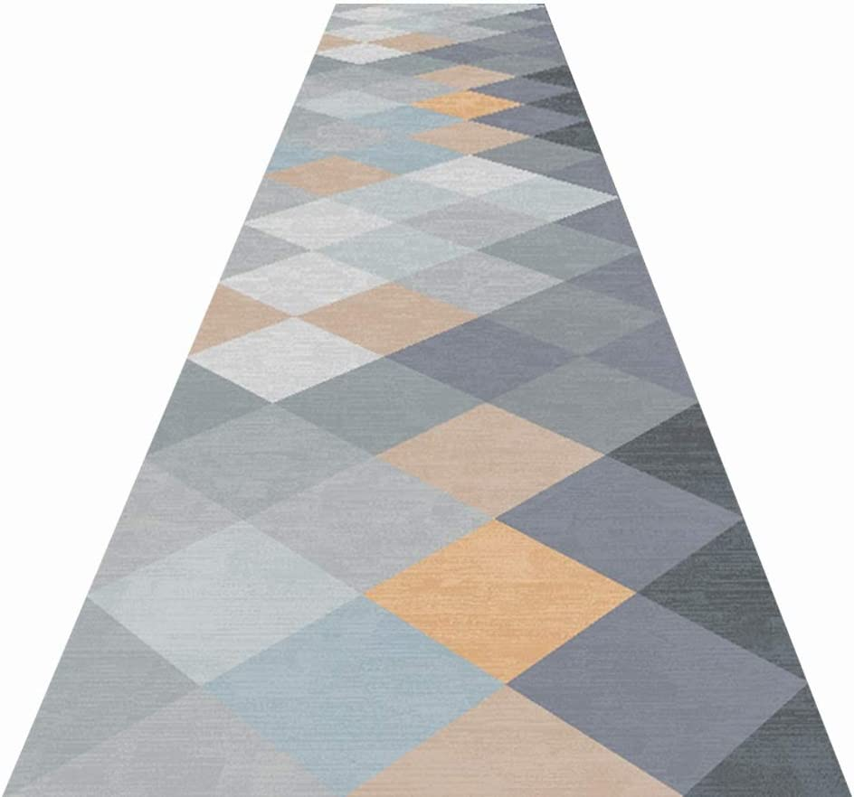JLXJ Grey Carpet Corridor, Non Skid Home Living Room Bedroom Kitchen Entryway Runners Rugs Mats, Washable, Easy to Clean (Size : 100×500cm(3ft×16ft))