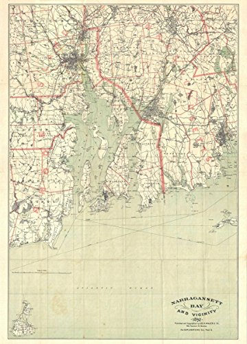 Historical 1892 Walker Map of Narragansett Bay, Rhode Island |18 x 24 Fine Art Print | Antique Vintage Map