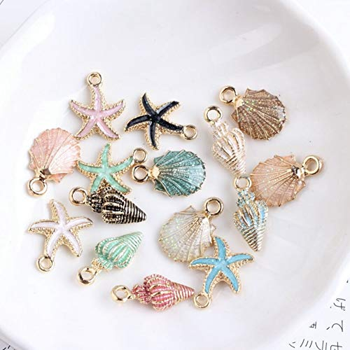 CheeseandU 39Pcs/lot Coloful Nautical Ocean Starfish Shell Conch Pendants Alloy Enamel Charm DIY Accessories of Necklace Bracelet Earrings Jewelry Accessory DIY Craft Charms,Assorted Color