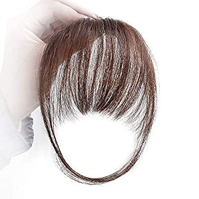 Stamped Glorious Real Human Hair Clip on Bangs Topper 3D Hand Made Air Bang