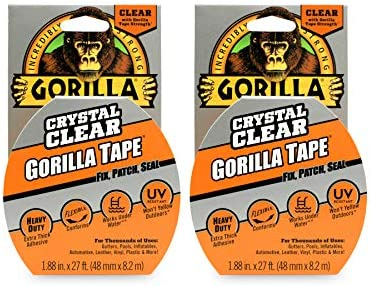 "Gorilla Crystal Clear Duct Tape Pack of 1 1.88"" x 9 yd 1 Pack Clear,"
