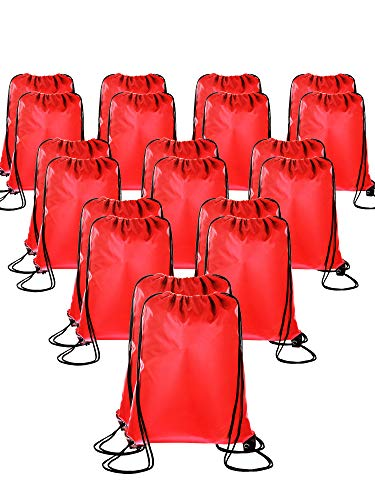 20 Pieces Drawstring Backpack Sport Bags Cinch Tote Bags for Traveling and Storage (Red, Size 1) ()