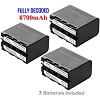 Kastar Battery (3-Pack) for Sony NP-F970 NP-F960 F970 F960 F975 F950 and DCR-VX2100 HDR-AX2000 FX1 FX7 FX1000 HVR-HD1000U V1U Z1P Z1U Z5U Z7U HXR-MC2000U FS100U FS700U and LED Video Light