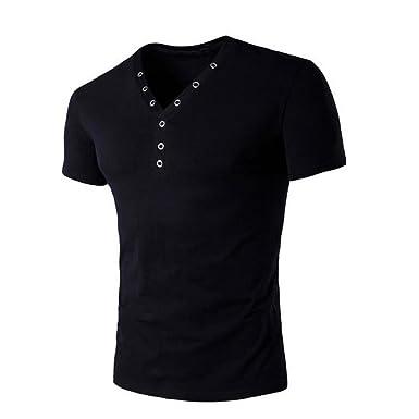 6b474266f Anglewolf Men Summer Slim Fit Short Sleeve V-Neck T-Shirt: Amazon.co.uk:  Clothing