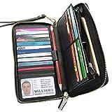 Women RFID Blocking Wallet Genuine Leather Zip Around Clutch Large Travel Purse