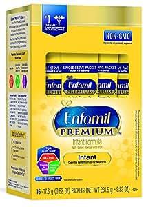 Enfamil PREMIUM Non-GMO Infant Formula, Powder, 17.4 Gram Single Serve Packets, Pack of 16