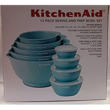 KitchenAid 13 Piece Mixing and Prep Bowl Set Aqua Sky