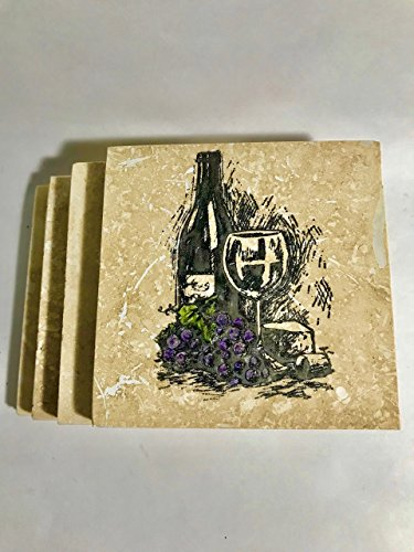 Wine and Grapes Coasters Set of Four ()