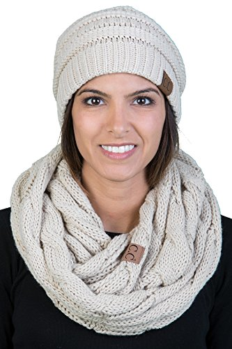 aHS-6020a-60 Regular Slouchy Beanie Hat Matching Scarf Winter Set Bundle - ()