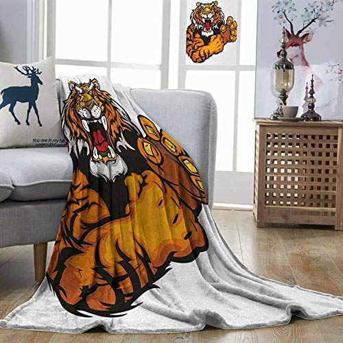 Zmstroy Lightweight Blanket Tiger Cartoon Styled Very Angry Muscular Large Cat Fighting Mascot Animal Growling Print Black Orange Easy to Carry Blanket W70 xL93