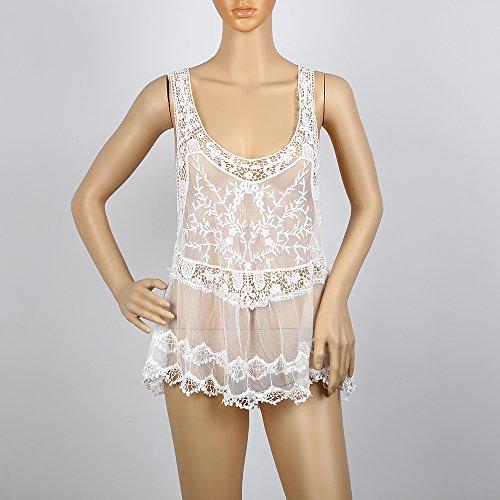 Pizzo Maniche Costumi Spiaggia Senza Bianco Da Oobest Copricostume Bagno Bikini In w6vA0vFqx7