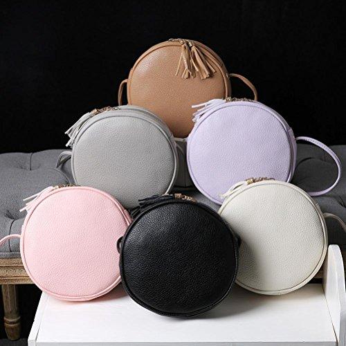 BZLine® Frauen Runde Leder Handtasche Umhängetasche Messenger Tasche (Schwarz) Lila Td98i